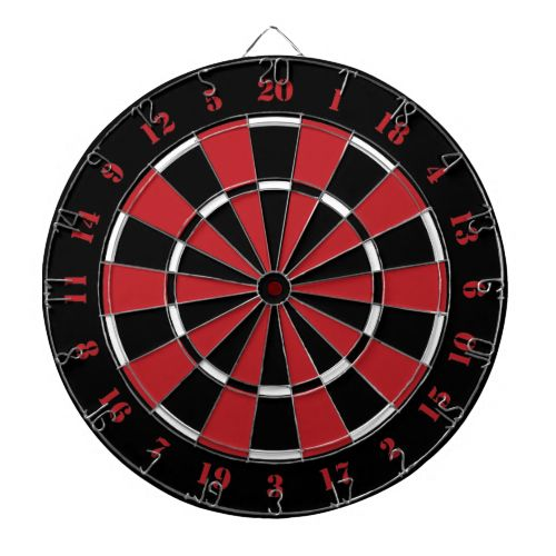 Black Red and White Dart Board