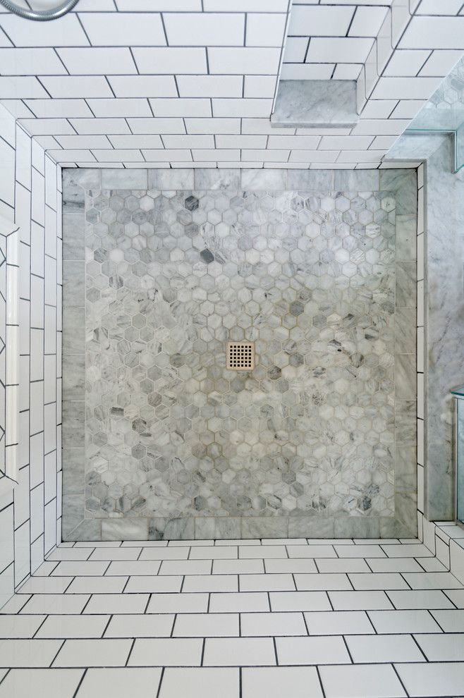 Beautiful hexagon tile in Bathroom Transitional with Subway Tile Shower next to Shower Floor Tile alongside. 1000  ideas about Shower Floor on Pinterest   Master bathroom