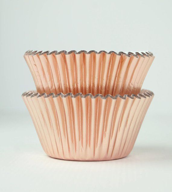 Metallic Rose Gold Foil Cupcake Liners Baking Cups 45 Ct Etsy