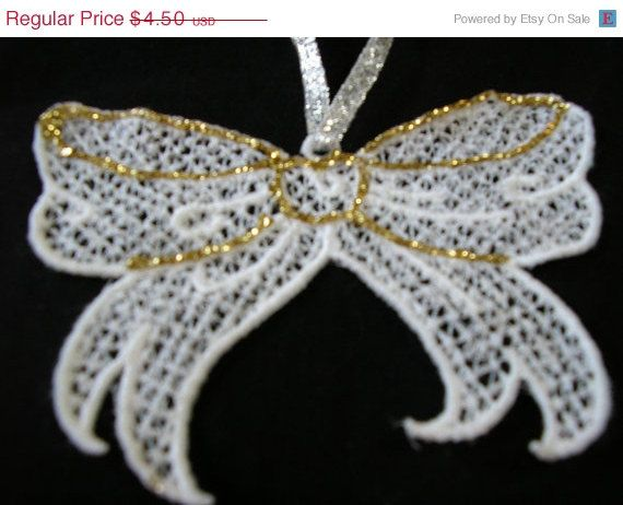 Clearance sale christmas tree ornament lace bow white or for Christmas ornament sale clearance