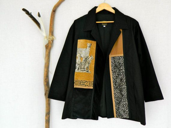 Me JANE . vintage women's cheetah jacket . black tribal animal print . south africa . large . etsyau wandarrah oz au australia . 1980s 1990s