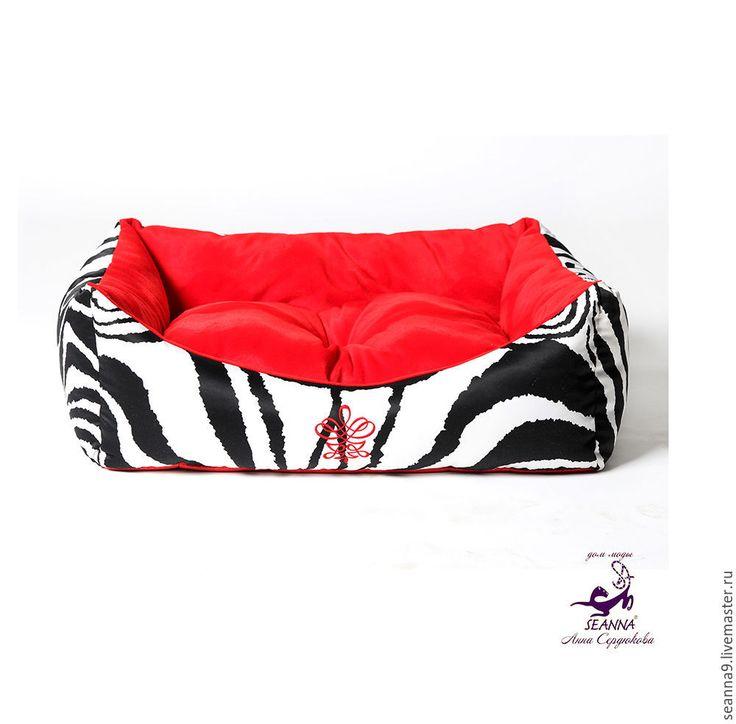 """Купить Лежанка для кошечки/собачки 45х60см со съемной подушечкой """"Зеброчка"""" - ярко-красный, лежанка для собаки"""