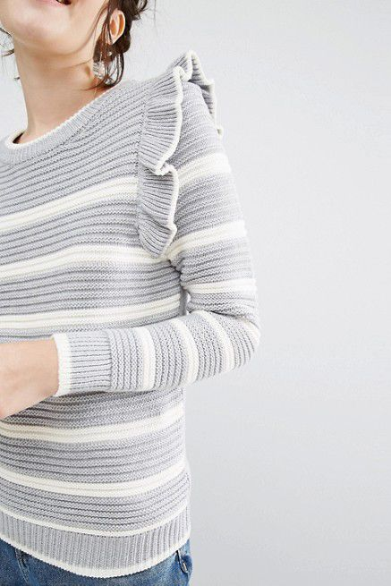 asos striped ribbed sweater with ruffles