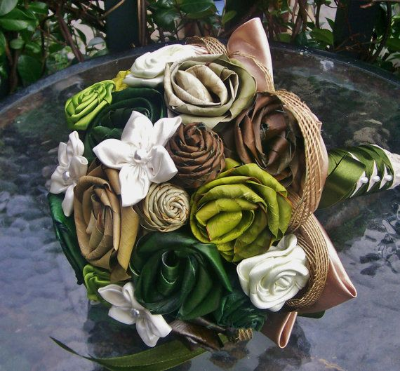 Green brown and cream flax wedding bouquet with a by FabulousFlax, $150.00