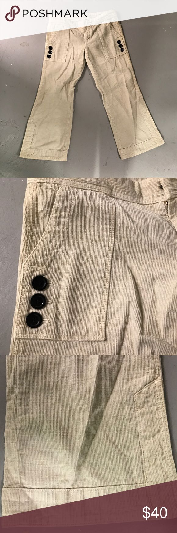 Citizens for Humanity corduroy Capri pants Citizens for Humanity corduroy Capri pants. Cream color. Size 27. Inseam 23 inches. 2 front pockets. 3 buttons on the pockets. 100% cotton. Excellent condition. Citizens of Humanity Pants Capris