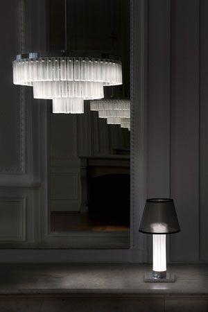 Collection Orgue par le Studio Andrée Putman pour Lalique, lustre et suspension en cristal design
