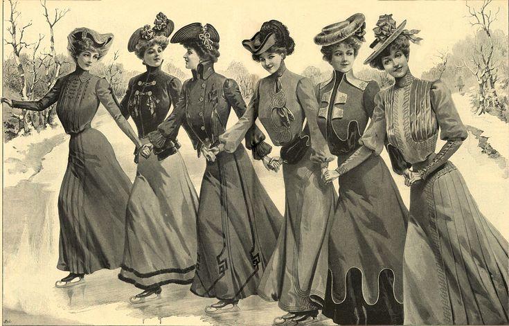 Stroje na ślizgawkę, 1901   Skating outfits, 1901