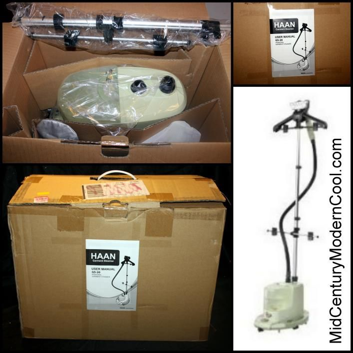 HAAN GS-20 Personal Garment Steamer w/attachments  NEW IN BOX! Ultra-Quick Start Up - ready for use in less than 40 seconds. Convenient built-in deluxe garment hanger & Telescoping garment pole. Find out more at: ground.  http://www.midcenturymoderncool.com/HaanFabricSteamer.html