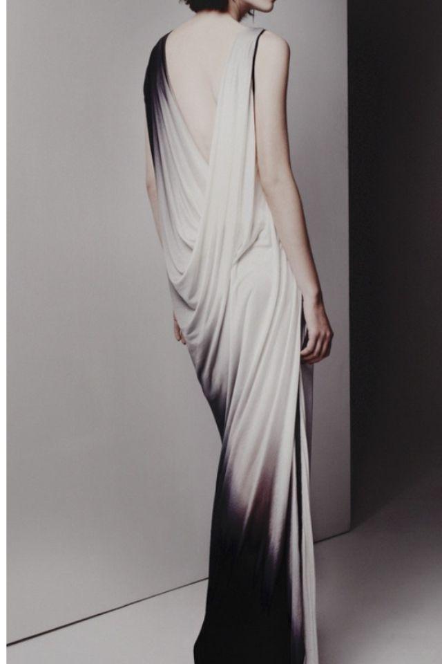 white dip dye dress