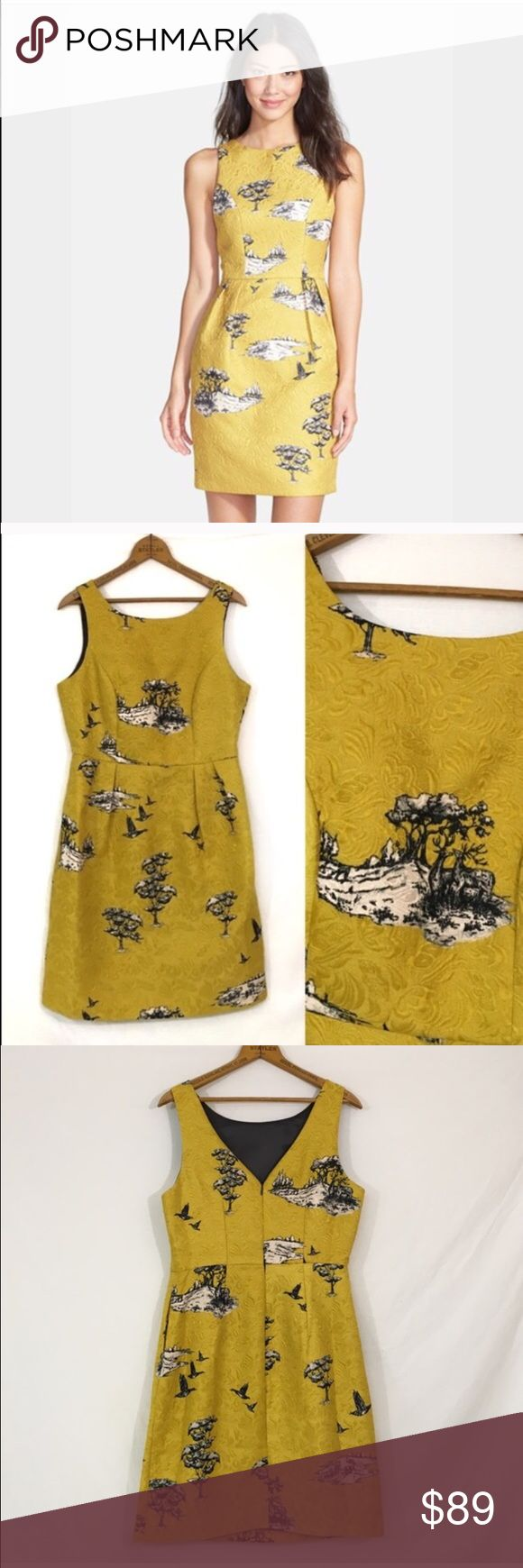 """🆕 DARLING UK $150 deer landscape print dress New, unworn condition; tags attached. Modcloth like styling. style name: Ophelia dress in chartreuse.    Bust 38"""" waist 32"""" hip 44"""" length 36.5"""".     Toile-inspired jacquard in vibrant chartreuse is tailored into a head-turning sheath dress that's sure to make you the star of the party. Pockets!  Hidden back-zip closure. Fully lined.  50% polyester, 50% cotton. Dry clean or hand wash cold, dry flat. By Darling; imported. Dresses. Darling  Dresses…"""