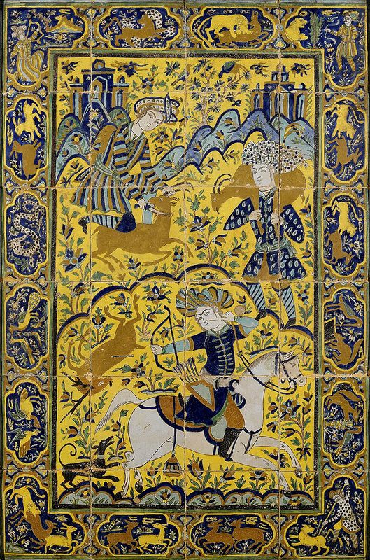 یک قاب 24 قطعه ای کاشی، قرن 18 یا 19 میلادی POLYCHROME POTTERY TILE PANEL, PERSIA, 18TH/19TH CENTURY composed of twenty-four tiles, decorated with a scene of courtly male figures hunting, one on horseback, the other two on foot, set in a rocky landscape with distant palaces, the border with a succession of oblong cartouches enclosing further scenes of the chase, framed 148.5 x 101.5cm.