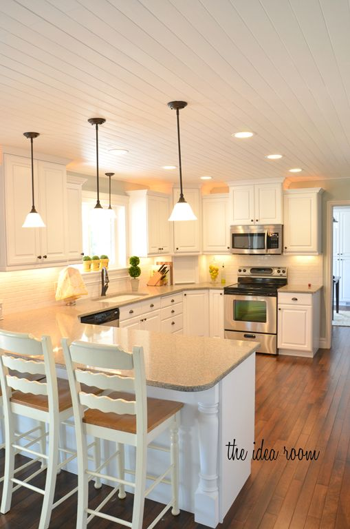 How to DIY a Wood Planked CeilingBeautiful Kitchens, Ideas Room, Kitchens Remodeling, Wood Planks, Planks Ceilings, Kitchens Layout, Amy Huntley, White Cabinets, White Kitchens