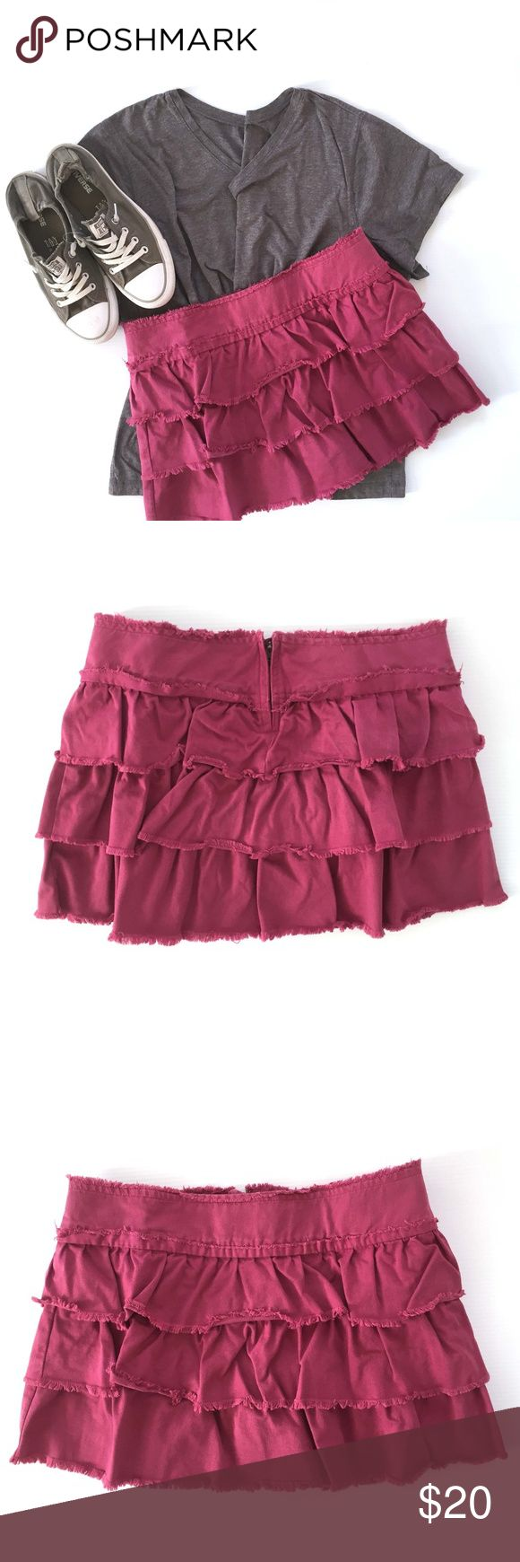 """Juicy Couture Jeans Fuchsia Distressed ruffle mini Juicy Couture Jeans Fuchsia Distressed ruffle mini skirt.  RN#92918, Style 3443 Cut #610660 Size M Approx. Measurements: Waist 16.5"""""""" Length 13.5"""""""" - both taken with item laying flat.  Materials: 100% Cotton- Machine Wash Super cute skirt with distressed edge ruffle. no stains or holes but color is a very faded fuchsia! Thanks for looking! Juicy Couture Skirts Mini"""