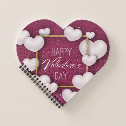 Valentines Day White Heart Glitter Spiral Notebook | Zazzle.com