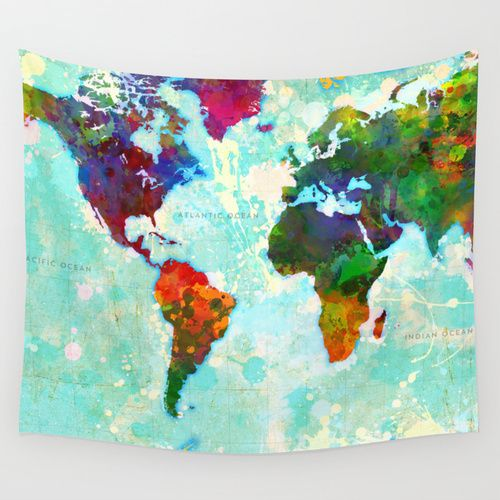 Abstract Map of the World Wall Tapestry
