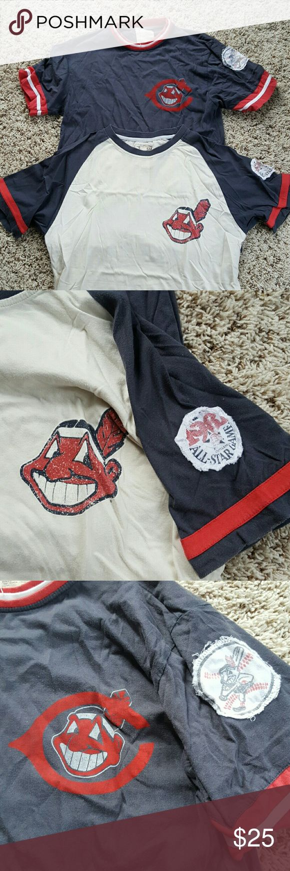 2 vintage Cleveland indians t shirts. Blue and cream. Awesome shirts. They just don't fit anymore. Red Jacket Shirts Tees - Short Sleeve