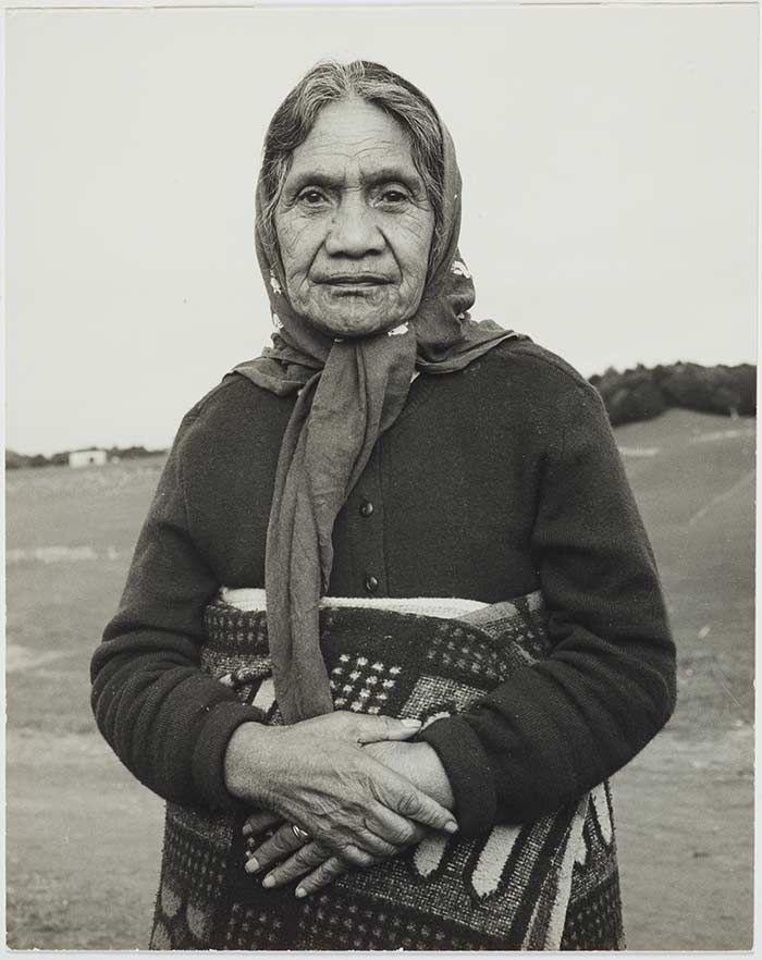 Herepo Rongo with moko kauae. 1970, photo by Marti Friedlander