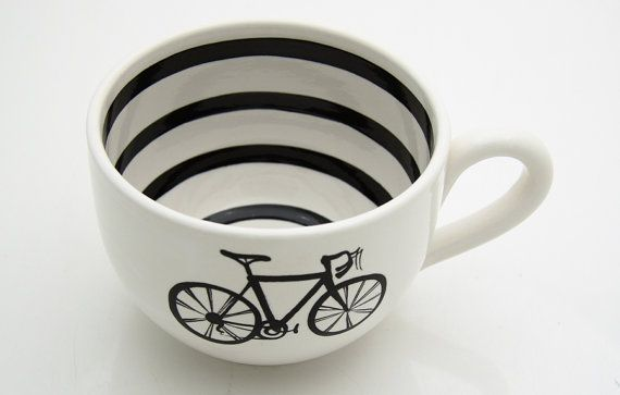 Bike Mug for Soup or Coffee Lovers, Black and White with Stripes.