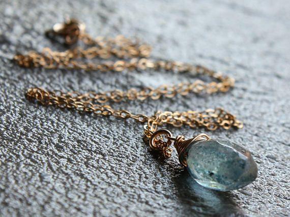 London Blue Topaz Necklace 14kt Gold filled wire wrap blue