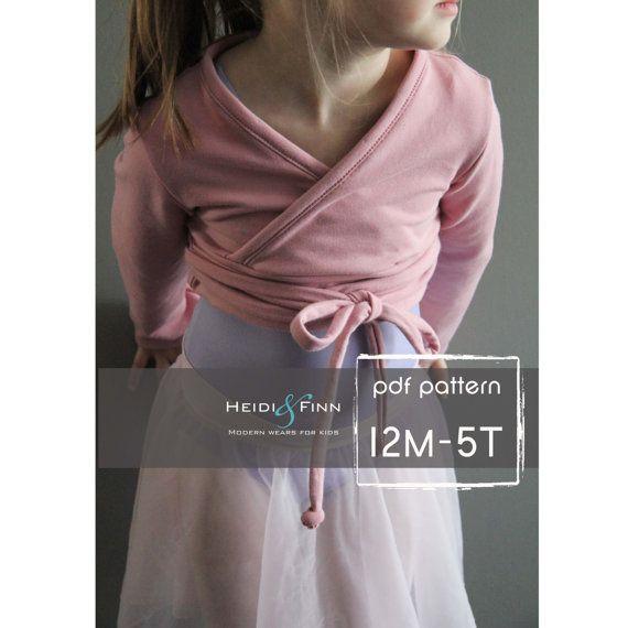 Modèle de pull de ballet et tutoriel 12m - 5 t PDF modèle fille moderne haussement d'épaules, enveloppement danse de boléro