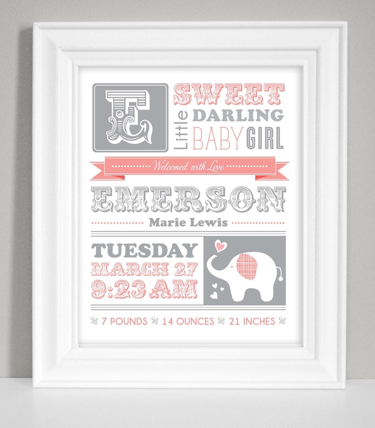 Nursery Art Birth Announcement Poster Baby by CadencePaige on Etsy, $16.00