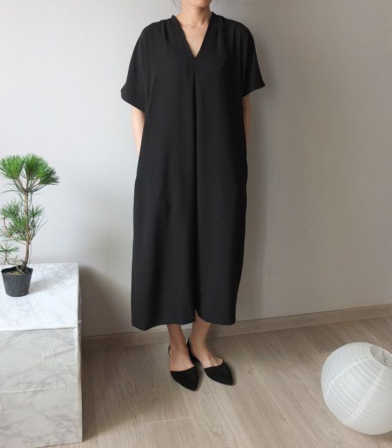 tencel ruched shoulder V-neck tunic style maxi by Metaformose