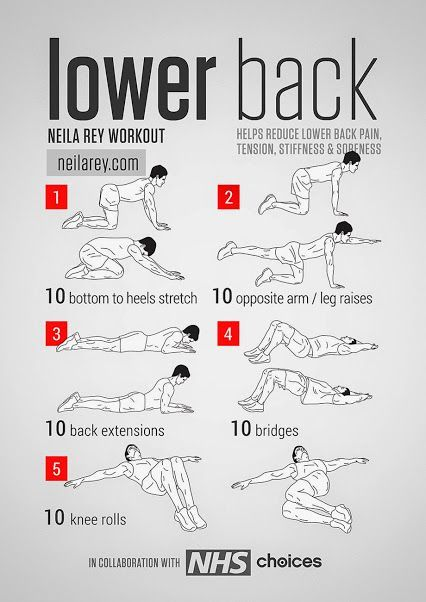 Lower Back Workout Helps reduce lower back pain, tension, stiffness & soreness. Neila Rey #fitness #workout #lowerbackpain