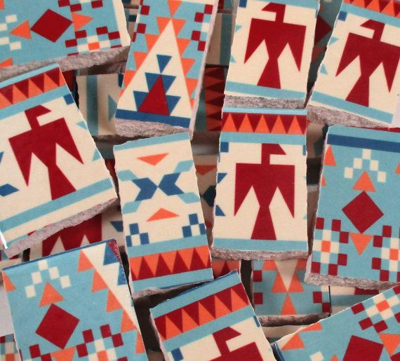 Ceramic Mosaic Tiles Southwestern Pattern Thunderbird Mosaic
