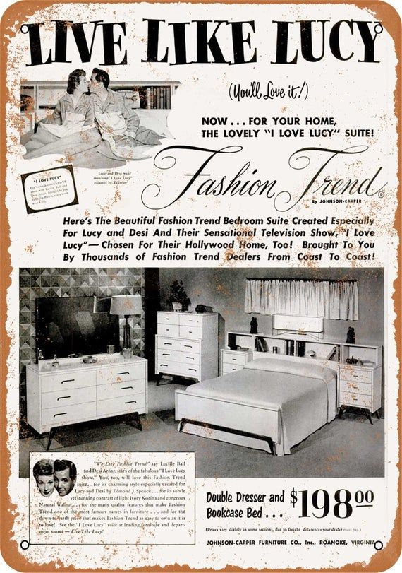 1953 Lucille Ball Bedroom Set Metal Sign Vintage Look Reproduction
