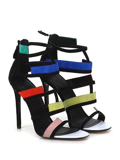 GREY MER - Sandalo alto - Donna - Sandalo alto in camoscio con zip su retro e tomaia lavorata. Suola in cuoio, tacco 110. - NERO\MULTICOLOR