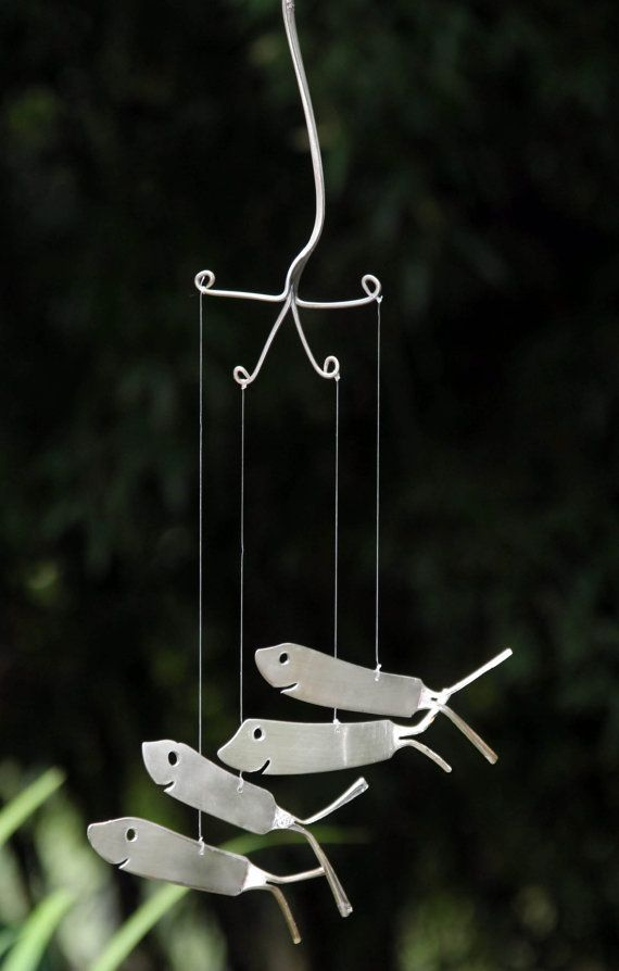 Shark Wind Chimes recycled from Vintage Flatware