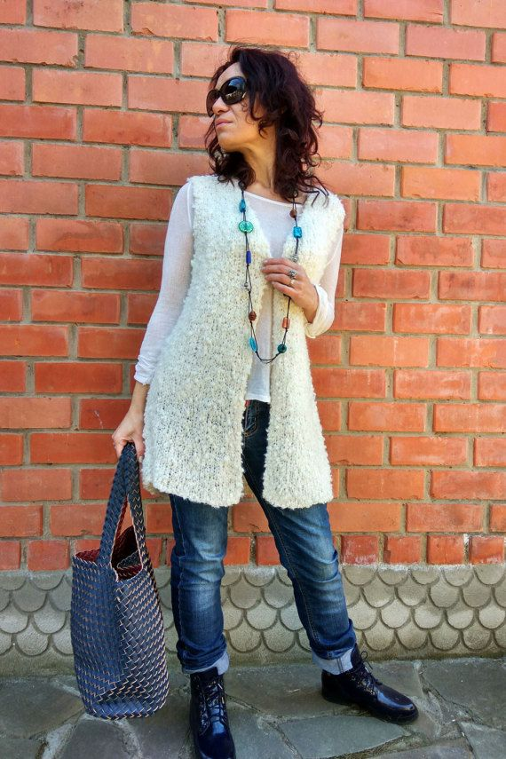 READY Handmade vest white mohair wool sweater от JuliasFineKnits