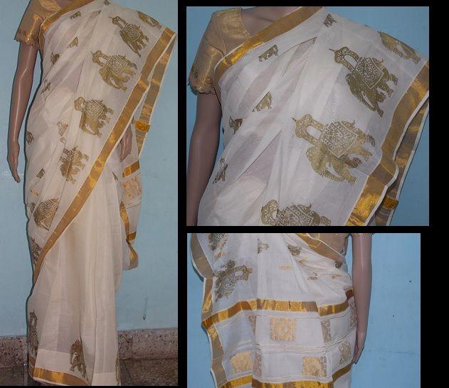 Some variations in Kerala Kasavu sarees