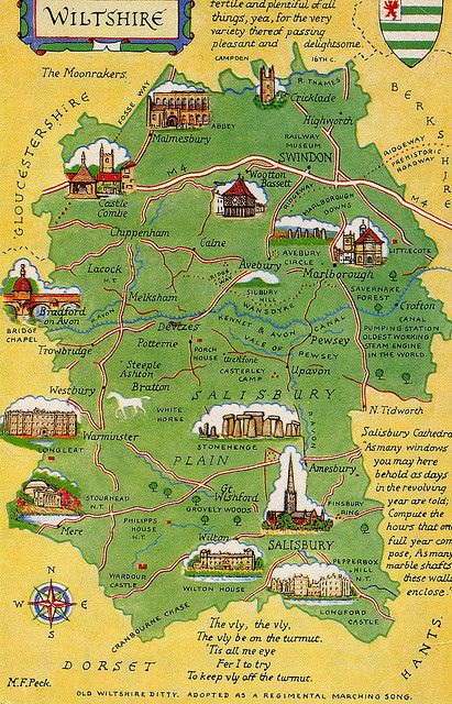 Wiltshire, England - postcard map.  The home of Stonehenge and Avebury, Wiltshire also has many other great attractions.