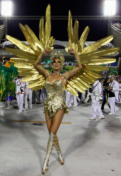 2012 Drum queen Ana Furtado of the Grande Rio samba school dances on the second night of the annual Carnival parade