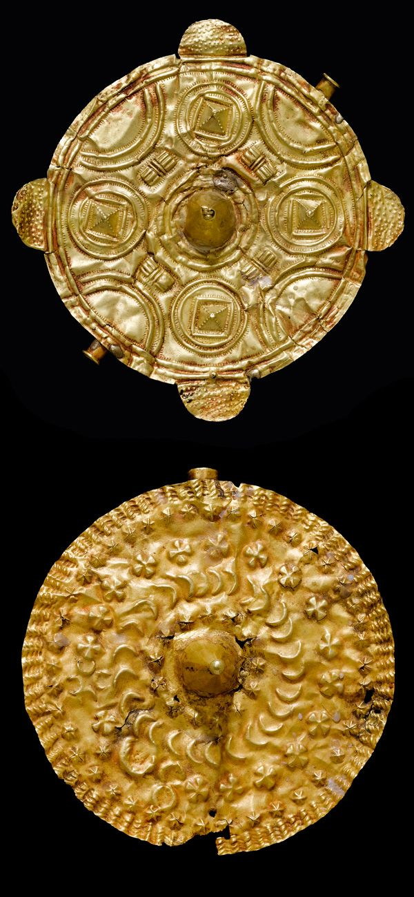"Africa | Two pectorals ""soul washer discs"" from the Asante people of Ghana 