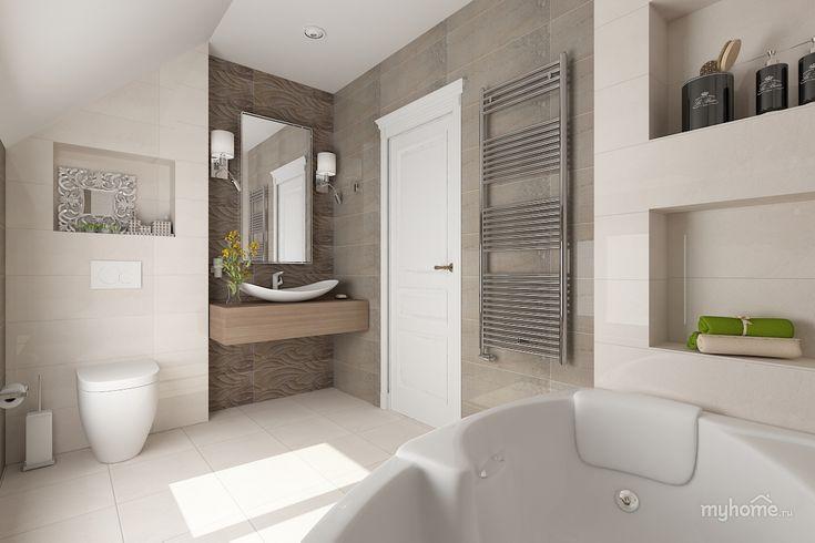 Ванная в стиле минимализм в коттедже.