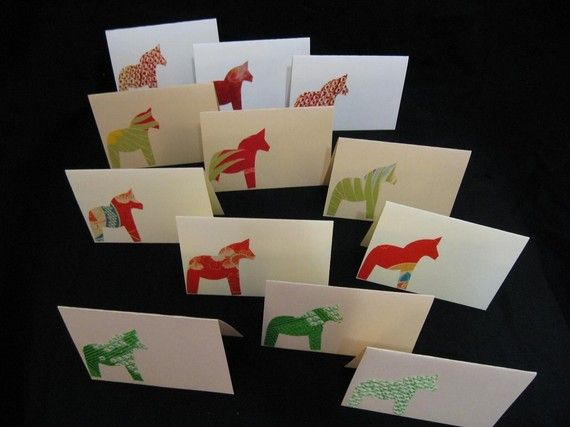 Handmade Japanese kimono silk cards....Dala horse by KIMONOCARDS