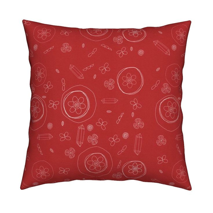 Catalan Throw Pillow featuring Red Petal Play by susankweckesser | Roostery Home Decor