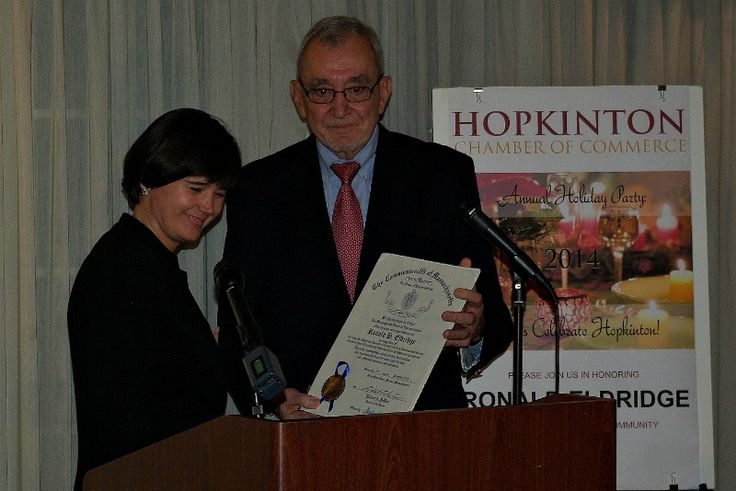 December 11, 2014 - Ronald Eldridge was honored by the Hopkinton Chamber of Commerce and received a citation from the Massachusetts House of Representatives, which was given by Rep. Carolyn Dykema. © Mike Torosian