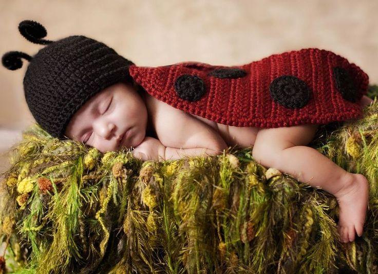 $8.79 Newborn Baby Girl Boy Crochet Knit Costume Photo Photography Prop Outfit ladybug