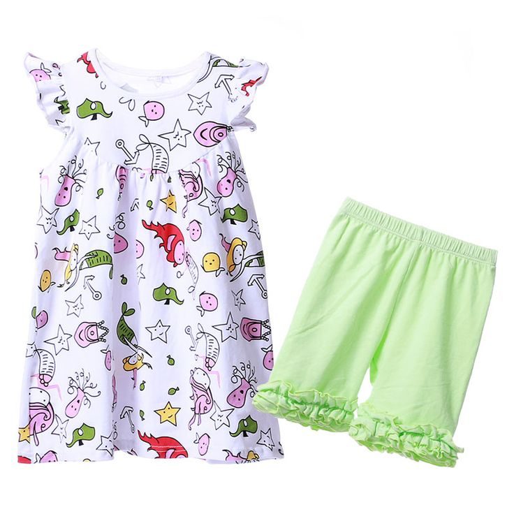 Children's Clothing Printed Summer Girls Dress Shorts Set Wholesale Toddler Boutique Clothing Children's Sets Summer KIds Suit