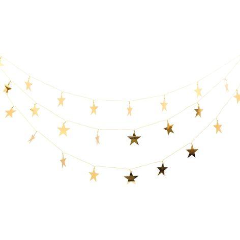 Girlang STJÄRNA guld. 4,5 m. Girlang med guldfärgade stjärnor.