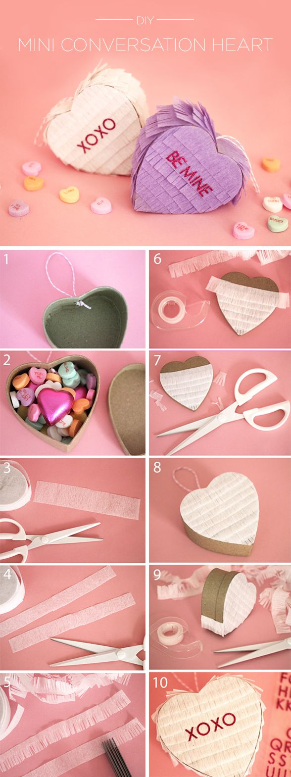 Charm your loved ones with these cute little conversation heart pinatas. #evitexoxo #valentinesday