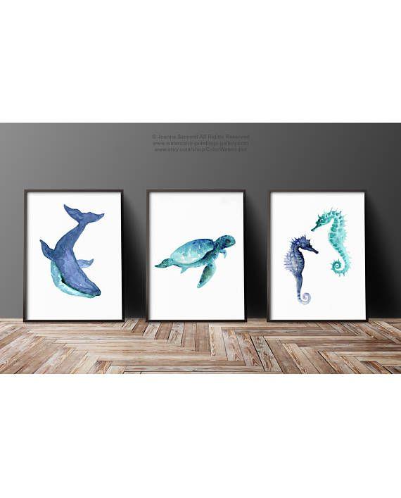 Vita oceanica animale arte blu dell'alzavola Acquerello