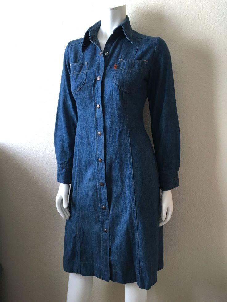 Vintage Women's 70's Levi's Denim Dress, Orange Tab, Long Sleeve, Knee Length (S) by Freshandswanky on Etsy