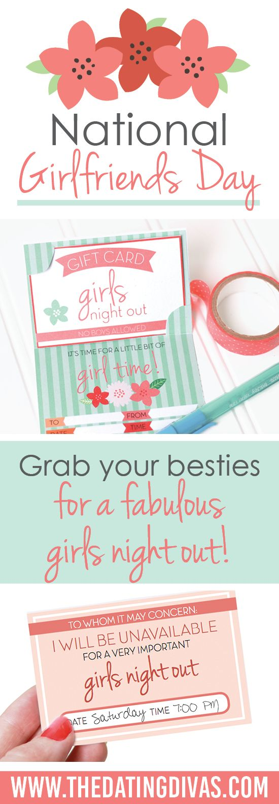 I had no idea National Girlfriends Day was a real thing!! Time for a girls night! Printables designed by www.la-sync.com www.TheDatingDivas.com