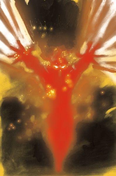 Heroes burning man isaac mendez painting canvas art print