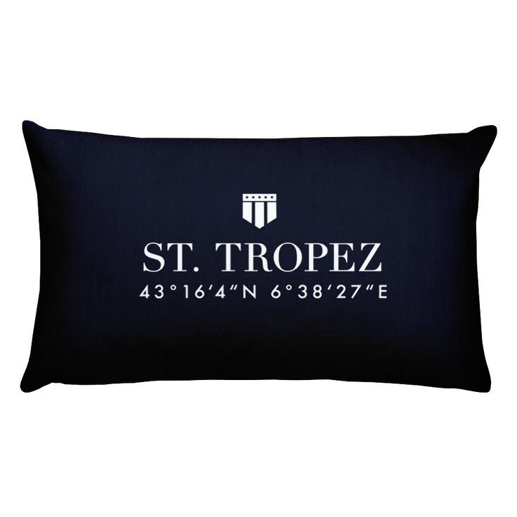 St. Tropez Côte d'Azur Pillow with Coordinates