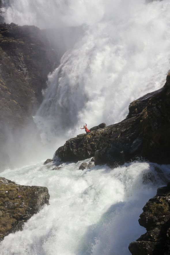 Kjosfossen Waterfall near Flam, Norway
